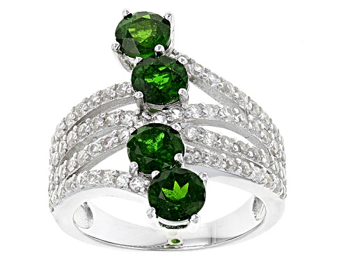 Photo of 2.50ctw Round Russian Chrome Diopside With 1.50ctw Round White Zircon Silver 4-Stone Bypass Ring - Size 5