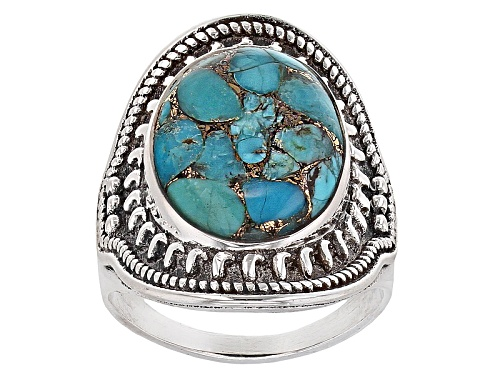 Photo of 16x12mm Oval Cabochon Blue Turquoise Sterling Silver Ring - Size 5