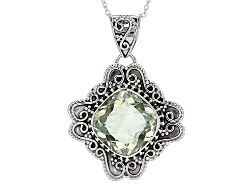 Photo of 15.00ct Square Cushion Prasiolite Sterling Silver Pendant With Chain