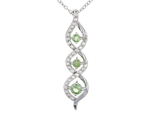 Photo of .62ctw Round Demantoid With .67ctw Round White Zircon Sterling Silver Pendant With Chain
