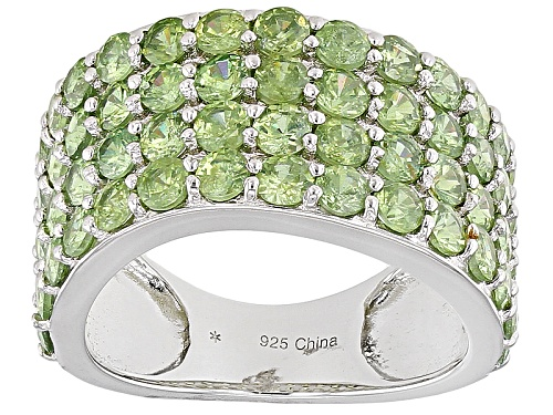 Photo of 5.50ctw Round Green Demantoid Sterling Silver Band Ring - Size 6