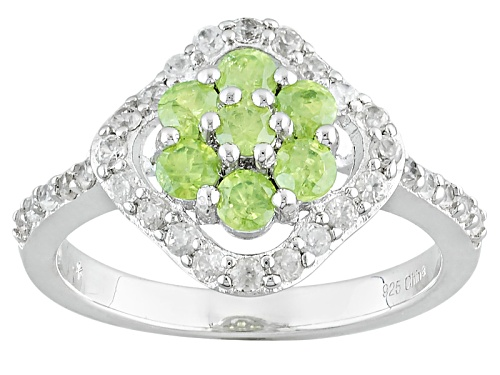 Photo of .65ctw Round Green Demantoid With .67ctw Round White Zircon Sterling Silver Ring - Size 8