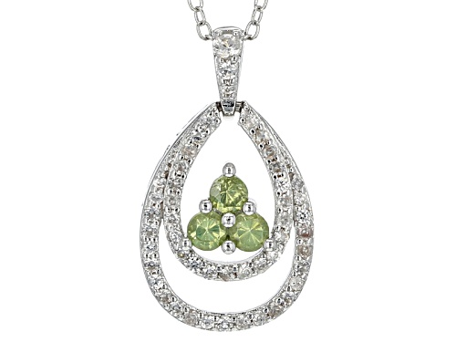 Photo of .30ctw Round Green Demantoid With .55ctw Round White Zircon Sterling Silver Pendant With Chain