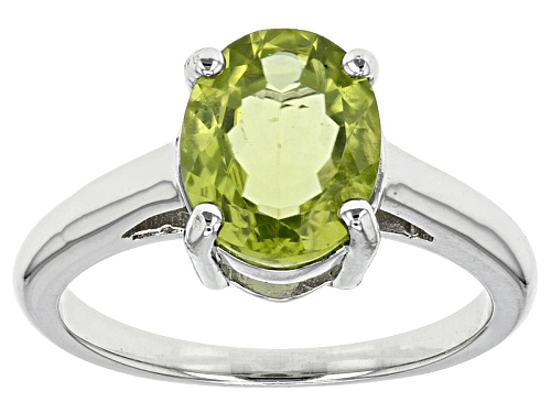 Photo of 2.50ct Oval Manchurian Peridot™ Sterling Silver Solitaire Ring - Size 12