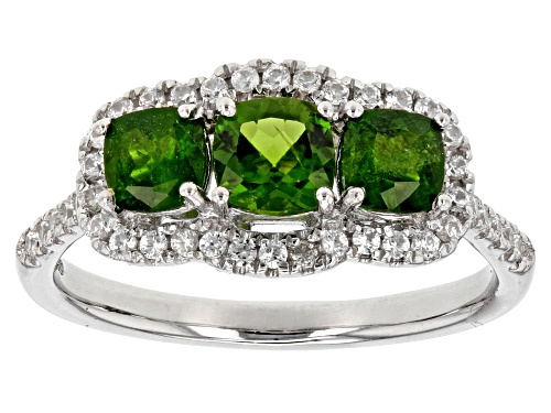 Photo of 1.40ctw Square Cushion Russian Chrome Diopside With .50ctw Round White Zircon Silver 3-Stone Ring - Size 12