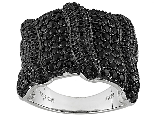 Photo of 2.10ctw Round Black Spinel Sterling Silver Band Ring - Size 5