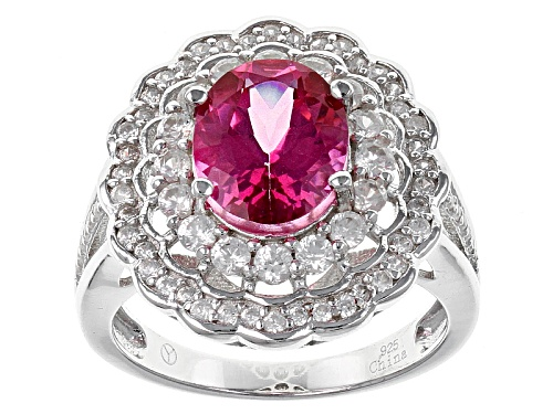 Photo of 2.75ct Oval Pink Danburite With .70ctw Round White Zircon Sterling Silver Ring - Size 10