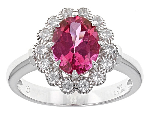 Photo of 2.15ct Oval Pink Danburite With 1.00ctw Round White Zircon Sterling Silver Ring - Size 11