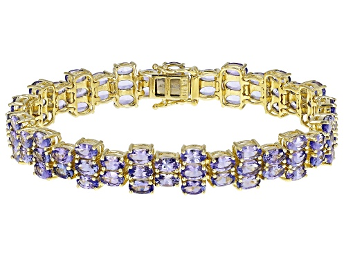 Photo of 20ctw Oval Blue Tanzanite 18k Yellow Gold Over Sterling Silver Bracelet - Size 8
