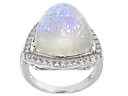 Photo of 15.50mm Trillion Carved Floral Rainbow Moonstone And 1.02ctw Round White Zircon Sterling Silver Ring - Size 7