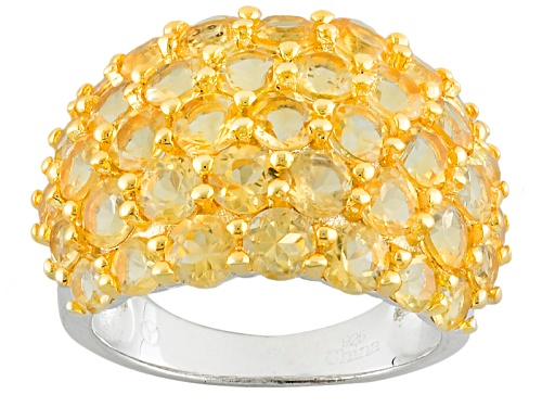 Photo of 2.55ctw Round Yellow Citrine Yellow Rhodium And Rhodium Over Sterling Silver Cluster Band Ring - Size 12