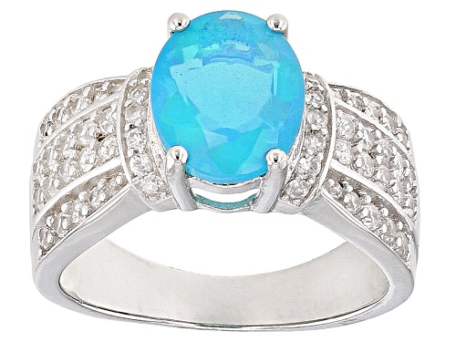 Photo of 1.64ct Oval Blue Ethiopian Opal With 1.00ctw Round White Zircon Sterling Silver Ring - Size 11