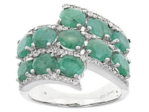 Photo of 2.97ctw Oval Sakota Emerald With .62ctw Round White Zircon Sterling Silver Ring - Size 5