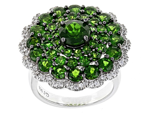 Photo of 5.86ctw Round Chrome Diopside With .62ctw Round White Zircon Sterling Silver Cluster Ring - Size 6