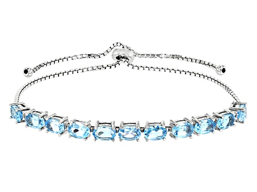 "Photo of 5.91ctw Swiss Blue Topaz Rhodium Over Silver Sliding Adjusts Approximately 6"" To 9"" Length Bracelet"