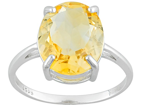Photo of 4.80ct Oval Citrine Sterling Silver Solitaire Ring - Size 12