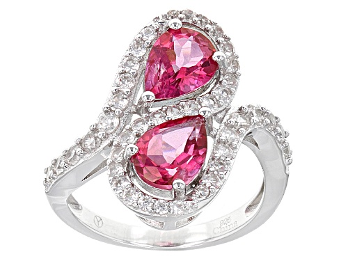 Photo of 1.65ctw Pear Shape Pink Danburite With 1.05ctw Round White Zircon Sterling Silver Bypass Ring - Size 11