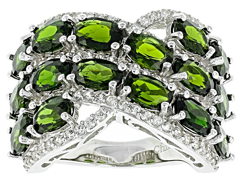 Photo of 8.24ctw Oval Russian Chrome Diopside With 1.25ctw Round White Zircon Sterling Silver Ring - Size 6