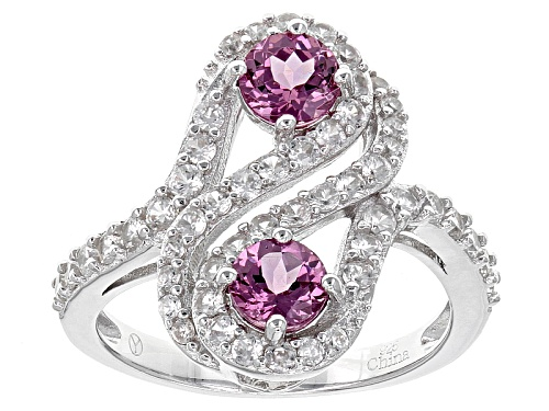 Photo of 1.10ctw Round Raspberry color Rhodolite Garnet With 1.25ctw Round Zircon Sterling Silver Bypass Ring - Size 7