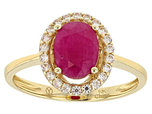 Photo of 1.75ct Oval Burma Ruby With .30ctw Round White Zircon 10k Yellow Gold Ring - Size 12