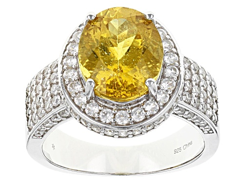 Photo of 3.50ct Oval Golden Apatite With 1.73ctw Round White Zircon Sterling Silver Ring - Size 11