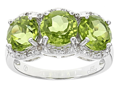 Photo of 4.00ctw Round Green Peridot With .13ctw Round White Diamond Sterling Silver 3-Stone Ring - Size 11