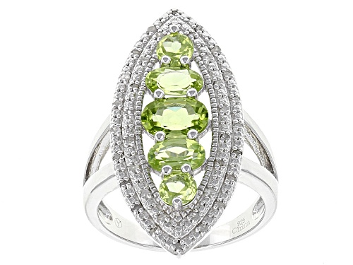 Photo of 2.25ctw Oval And Round Green Peridot With .20ctw Round White Diamond Sterling Silver Ring - Size 7