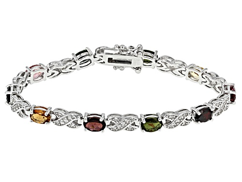 Photo of 6.50ctw Oval Multicolor Tourmaline With 1.25ctw Round White Zircon Sterling Silver Bracelet - Size 7
