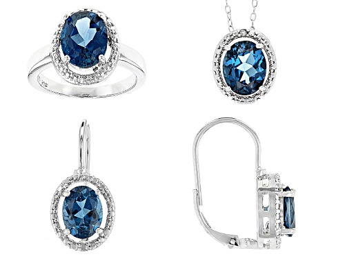 Photo of 11.10ctw London Blue Topaz, .02ctw 4 Diamond Accent Silver Ring, Earrings And Pendant W/Chain Set