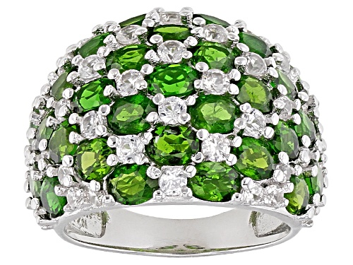 Photo of 5.58ctw Oval Russian Chrome Diopside With 2.02ctw Round White Zircon Sterling Silver Ring - Size 5