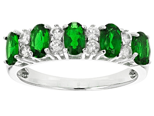 Photo of 1.25ctw Oval Russian Chrome Diopside And .41ctw Round White Zircon Sterling Silver 5-Stone Band Ring - Size 12
