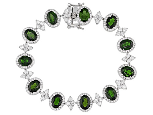 Photo of 15.00ctw Oval Russian Chrome Diopside With 5.30ctw Round White Zircon Sterling Silver Bracelet - Size 7.25
