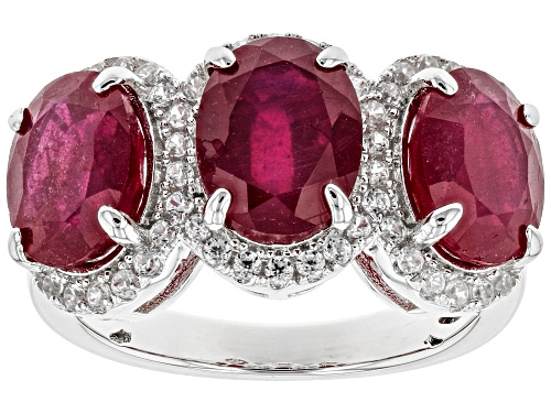 Photo of 7.20ctw Oval Mahaleo® Ruby With .40ctw Round White Zircon Sterling Silver Ring - Size 5