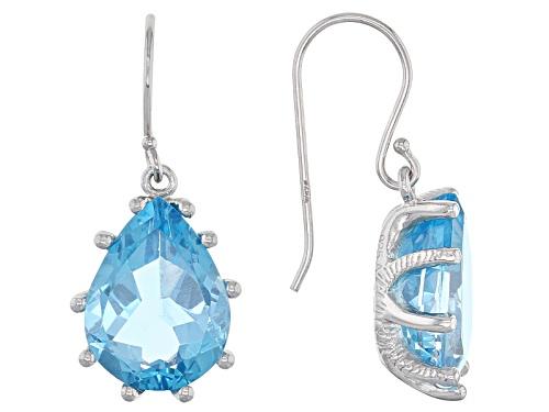 Photo of 18.00ctw Pear Shape Swiss Blue Topaz Rhodium Over Sterling Silver Dangle Earrings