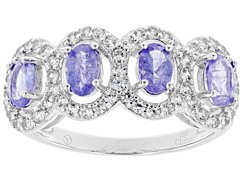 Photo of 1.75ctw Oval Blue Tanzanite With 1.25ctw Round White Zircon Sterling Silver 4-Stone Band Ring - Size 5