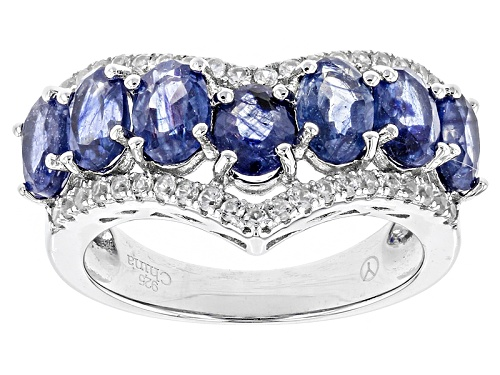 Photo of 4.50ctw Oval Mahaleo® Blue Sapphire With .42ctw Round White Zircon Sterling Silver Chevron Ring - Size 5