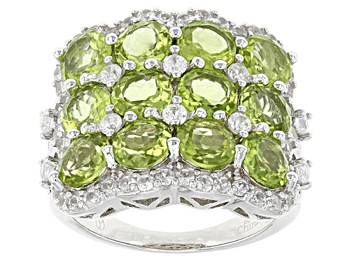 Photo of 7.25ctw Round Peridot With 1.40ctw Round White Zircon Sterling Silver Ring - Size 5