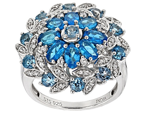 Photo of 2.10ctw Neon Apatite With 1.53ctw Swiss Blue Topaz And .51ctw White Topaz Sterling Silver Ring - Size 5