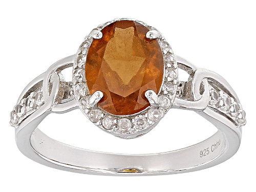 Photo of 2.20ct Oval Hessonite With .47ctw Round White Zircon Rhodium Over Sterling Silver Ring - Size 10