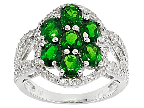 Photo of 2.65ctw Oval Russian Chrome Diopside With 1.10ctw Round White  Zircon Sterling Silver Cluster Ring - Size 11