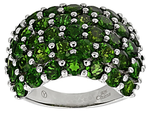 Photo of 7.15ctw Round Green Russian Chrome Diopside Rhodium Over Sterling Silver Cluster Ring - Size 5