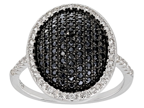 Photo of .62ctw Round Black Spinel With .44ctw Round White Zircon Sterling Silver Ring - Size 5