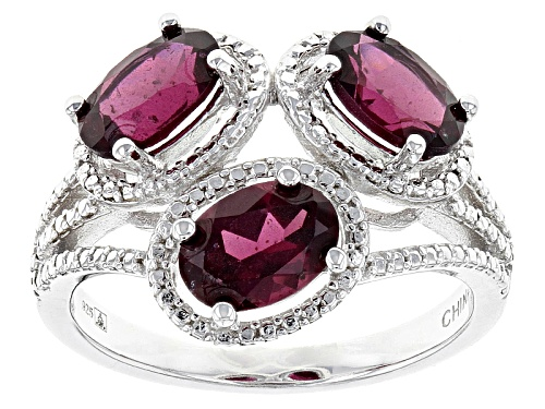 Photo of 3.00ctw Oval Raspberry color Rhodolite Sterling Silver Three-Stone Ring - Size 12