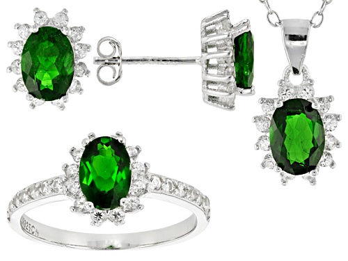 Photo of 5.41ctw Chrome Diopside And White Zircon Rhodium Over Silver Ring, Earrings And Pendant W/Chain Set