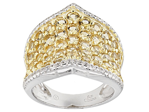 Photo of 2.70ctw Round Brazilian Citrine With .45ctw Round White Zircon Sterling Silver Band Ring - Size 5