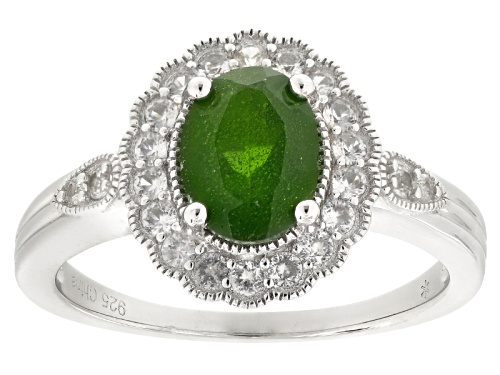 Photo of 1.20ct Oval Russian Chrome Diopside With .45ctw Round White Zircon Sterling Silver Ring - Size 11