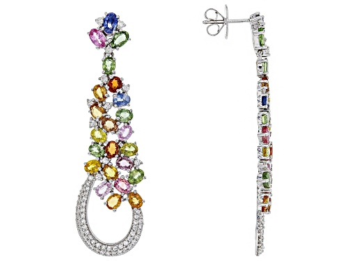 Photo of 10.80ctw Oval Multi-Sapphire With 1.85ctw Round White Zircon Sterling Silver Dangle Earrings