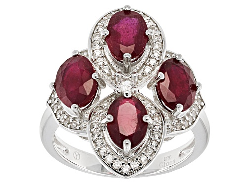 Photo of 3.65ctw Oval Mahaleo® Ruby With .50ctw Round White Zircon Sterling Silver 4-Stone Ring - Size 11