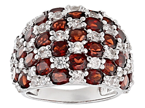 Photo of 6.82ctw Oval Red Garnet With 2.03ctw Round White Zircon Sterling Silver Cluster Dome Ring - Size 5