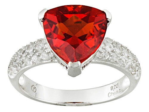 Photo of 4.50ct Trillion Lab Created Padparadscha Sapphire And .65ctw Round White Zircon Sterling Silver Ring - Size 11
